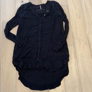 Free people button down long sleeve top black sm